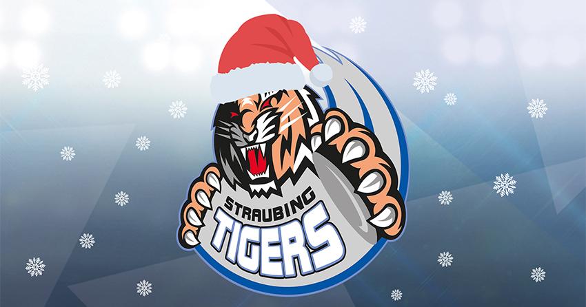 Logo der Straubing Tigers mit Weihnachtsmütze und Schneeflocken