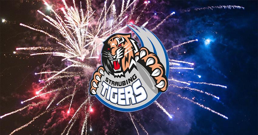 Logo der Straubing Tigers mit Feuerwerk im Hintergrund