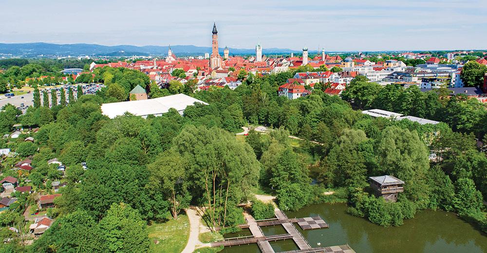 Drohnenaufnahme der Stadt Straubing